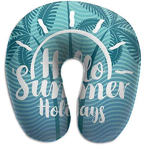 Marlon Kitty Hello Summer Holidays - Cojín con Forma de U, Almohadilla para el Cuello, cojín, Unisex y Comodidad en los Viajes