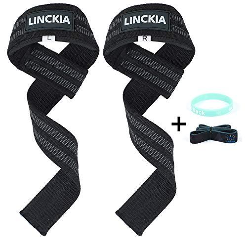 LINCKIA Profi Zughilfen Krafttraining Lifting Straps - 60CM Fitness Zughilfe Gewichtheben Kraftsport...