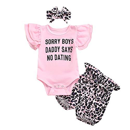 WangsCanis Kleinkind Baby Mädchen Kleidung DAD SAYS Sweatshirt Tops Leopard Hose Stirnband Set Leggings 3tlg Outfits(Bodys und Shorts,0-6 Monate)