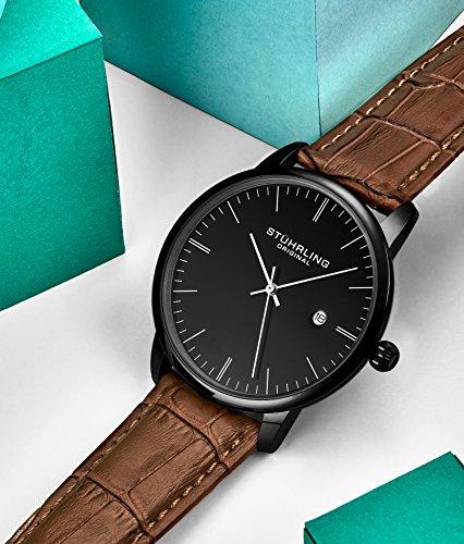 Stuhrling Original Mens Watch Calfskin Leather Strap - Dress + Casual Design - Analog Watch Dial...