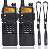 2 Pack BaoFeng UV-5R High Power Tri-Power Portable Two-Way Radio 3800mAh Battery with 18.89 Inch ABBREE Tactical Antenna