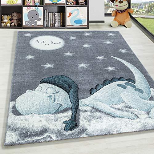 HomebyHome Alfombra Infantil Diseño de Estrella de Nube de Dinosaurio Habitación Infantil para bebé Gris Azul rectángulo Redonda, tamaño:80x150 cm, Color:Azul