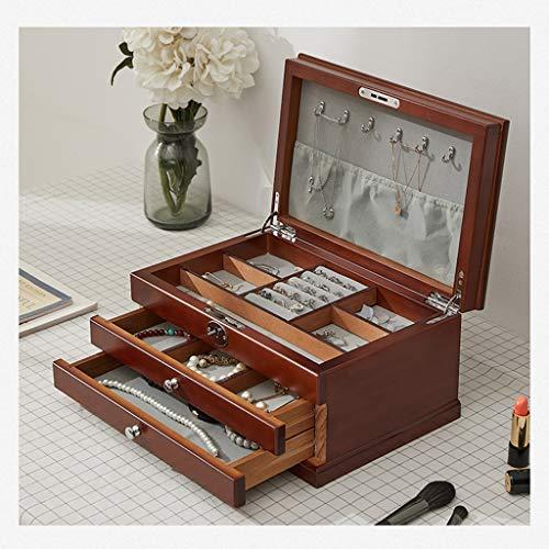 YYDS Joyería de Madera Caja de almacenaje del Organizador del cajón exhibición de la joyería Caja de joyería del sostenedor de 3 Capas for la Pendiente de la Pulsera del Collar de Anillo