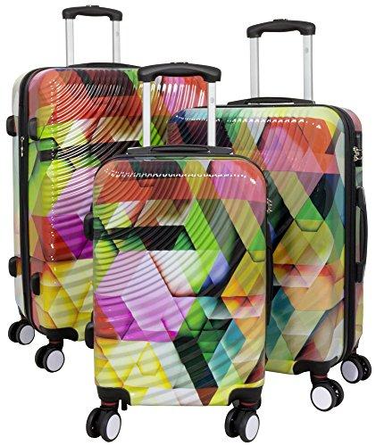 Trendyshop365 Hartschale Koffer-Set 3D Wellen-Design 3-teilig Bunt