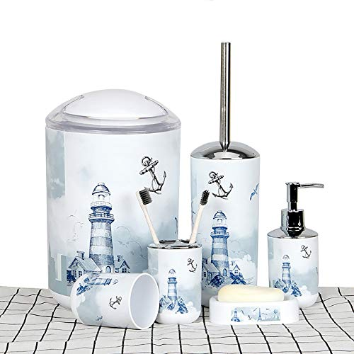 6 Piece Plastic Bathroom Accessory Set Luxury Lighthouse Bath Accessories Bath Set Lotion Bottles,Toothbrush Holder,Tooth Mug,Soap Dish,Toilet Brush,Rubbish for Modern Design