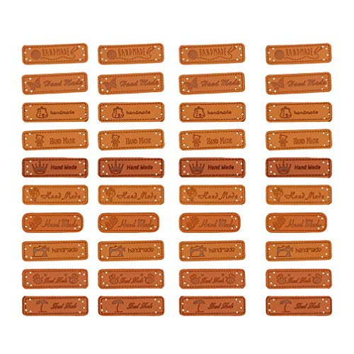 Healifty 40 stücke pu leder label handmade tag label taste verschönerung stricken diy zubehör für jeans taschen schuhe hut (mixed style)
