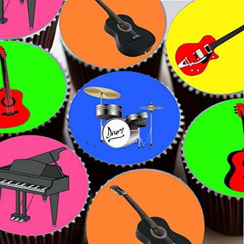 15runde vorgeschnittenen Rock Star Gitarre Mottoparty Essbare Cup Cake Topper Dekoration von aus
