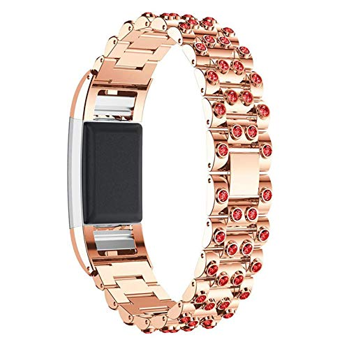 XIALEY Stainless Steel Wristband Compatible with Fitbit Charge 2, Women Girls Replacement Straps Glitter Rhinestone Wrist Straps Sport Metal Bracelet for Charge 2,Rose Gold 2