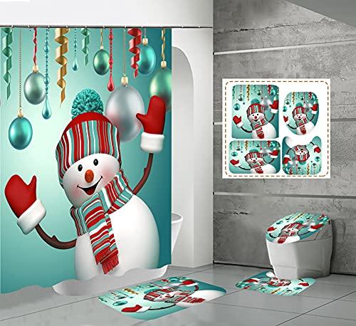 CQFFCG Juego de alfombras de baño 4 Piezas de baño de Serie navideña con Cortinas de Ducha Alfombrillas de baño Antideslizantes Impermeables Conjuntos(Forma 45)