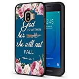 Galaxy J2 Core Case,Christian Bible Verses Psalm 46:5 with Pink Flower Slim Anti-Scratch Shockproof Leather Grain Soft TPU Back Protective Cover Case for Samsung Galaxy J2 Core 2018