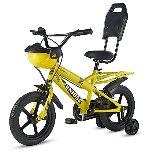 Lifelong LLBC1401 Juniors Ride Cycle 14T with Training Wheel, Mudguard for Boys and Girls| 95% Assembled, Frame Size: 9' | Ideal Height : 3 ft + | Ideal for 2 to 5 Years (Yellow)