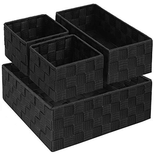 Aufbewahrungskorb Boxen für Regale, Badezimmer Schublade Organizer Aufbewahrungsbehälter Teiler mit strapazierfähigem Metallrahmen für Schrank 4er-Set, Schwarz