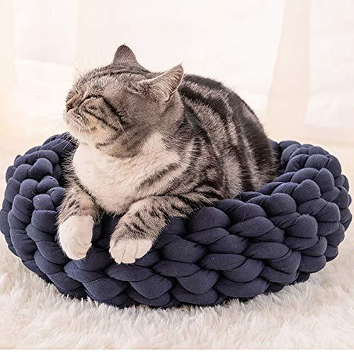 Cat Sleeping Bag  Woven Cat Bed Pet Nest Warm Soft Cat Basket Cat Lazy Lounger Wool Cotton Kennel Dog Sleeping House Cat Cave Pet Supply-1-45cm