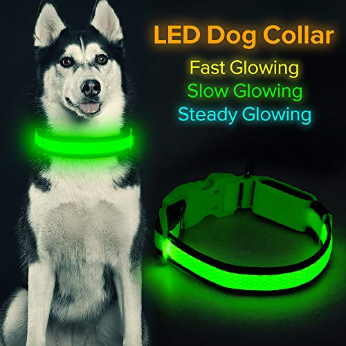 "HiGuard LED Dog Collar, USB Rechargeable Light Up Glowing Pet Collar, Comfortable Soft Mesh Safety Dog Collar for Small, Medium, Large Dogs (Small Collar[10.5""-14"" inch / 26.5-36cm], Neon Green)"