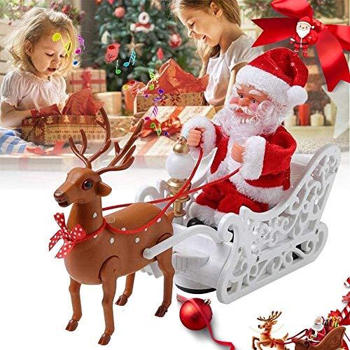 GPMBHNV Santa Claus Electric Christmas Christmas avec Reindeer, Electricité Décoration de Noël Santa Claus Arbre de Noël Décorations extérieures for intérieurs Décorations de fête Famille Accueil