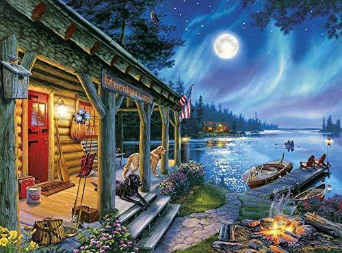 LLYMGX Puzzle Für Erwachsene 1000 Stück Kinder Alter 8 Jahre Altes Spielzeug Für Männer Frauen Kinder Jungen Mädchen Kunst Dekoration Landschaft Poster Moonlight Cottage