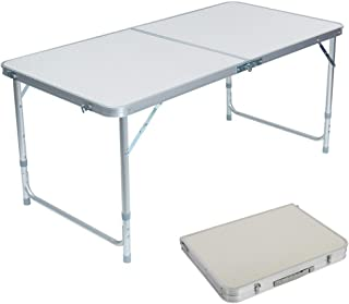 Lovinland Folding Table Portable Camping Table 4 Foot Aluminum Foldable Table Height Adjustable for Picnic Party Dining