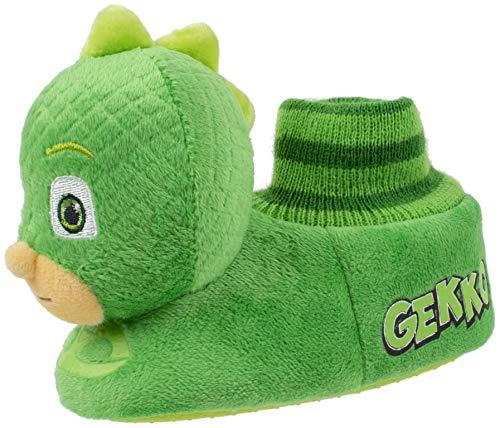 PJ Masks Toddler Boy's Gekko Head-on-Top Socktop Slipper, Green, L (9-10)