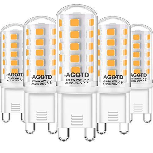 AGOTD G9 LED Dimmbar Lampe, Warmweiß 2700K Led Dimmbare Glühbirnen 4W ersatz für 28W 33W 40W Halogenlampe, 400LM G9 LED Leuchtmittel, AC 220-240V, 5er Pack
