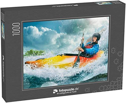 fotopuzzle.de Puzzle 1000 Teile Wildwasser-Kajakfahren, Extrem-Kajakfahren. EIN Typ in einem Kajak segelt auf einem Bergfluss
