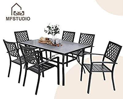"""MFSTUDIO 7 Piece Metal Patio Dining Sets Outdoor Club Bistro Bar Sets with 1.57"""" Umbrella Hole, 6 Stackable Metal Chairs and Larger Rectangle Patio Table, Steel Slat Frame, Black"""