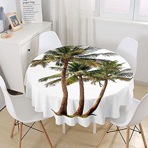 Chickwin Mantel Impermeable y Antimanchas Redondo, Mantel para Mesa Patrón de Creativa Gran árbol, Mantel de Poliéster para Jardin, Comedor, Cocina, Salón Decoración (Cocotero B,120cm)