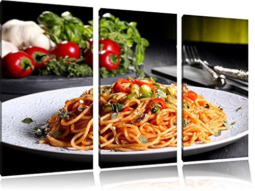 Leckere Spaghetti Italia 3-Teiler Leinwandbild 120x80 Bild auf Leinwand, XXL riesige Bilder fertig gerahmt mit Keilrahmen, Kunstdruck auf Wandbild mit Rahmen, gänstiger als Gemälde oder Ölbild, kein Poster oder Plakat
