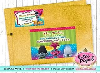 10 TROLLS Movie Princess Poppy and Bridge Birthday Party RETURN & GUEST Address Labels