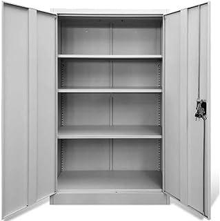Zerone Armoire de bureau verrouillable avec 2 portes et 3 étagères réglables Armoire de bureau avec étagères en métal Gris...