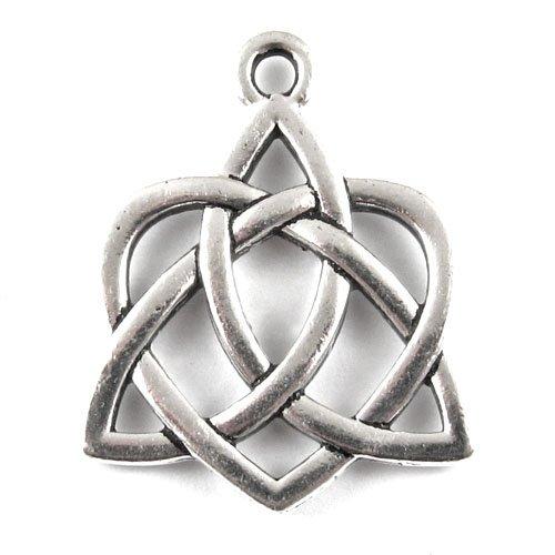 Silver Large Celtic Open Heart Pendant, TierraCast Endless Knot, 1/Pkg