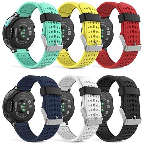 MoKo [6 Pezzi Garmin Forerunner 235 Accessori, Morbido Cinturino di Ricambio in Silicone per Garmin Forerunner 220/230/235/620/630/735 Smart Watch (Non per Forerunner 35), Multicolori