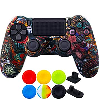 9CDeer 1 Piece of SiliconeTransfer Print Protective Cover Skin + 6 Thumb Grips & Dust Proof Plugs for PS4/Slim/Pro Controller Monsters