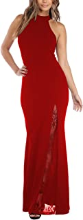 Womens Sleeveless Halter Neck Lace Velvet Bodycon High Slit Formal Long Dress