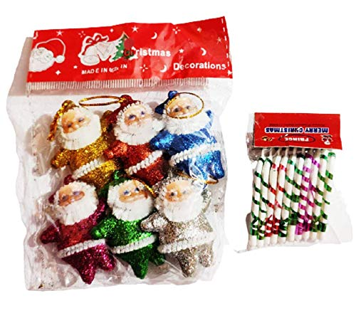 Xmas Christmas Tree Decoration Ornament Hanging Accessories Small 6 Santas Piece -10 Candy Sticks Piece Pack Kit Gift