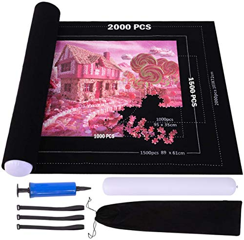 Puzzle Roll Up Mat, Large Jigsaw Puzzles Mat Roll Up 2000 Pieces Puzzles Store Keeper Mat, 46' X 32' Felt Mat Puzzles Saver Board 2MM Thick, Inflatable Tube, Handle Pump, 3 Velcro Fasteners