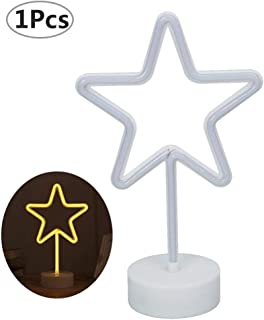 Stern Neonlicht - WENTS LED Nachtlicht Stern Licht Warmweiß Batteriebetriebene Lampe Tischleuchte Dekolicht Stimmungslicht Leuchtreklame für Haus Party Hochzeit Schlafzimmer Deko