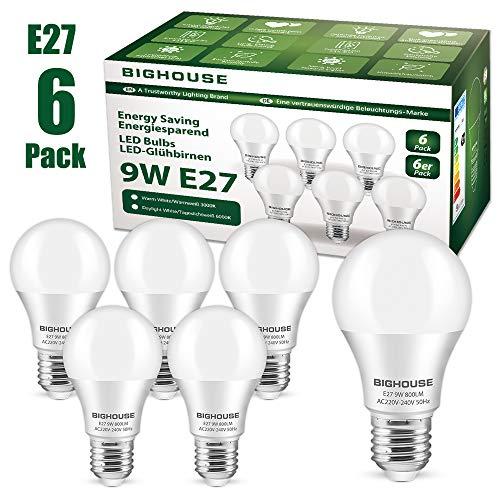 E27 LED Lampe, 9W 800 Lumen LED Lampe Ersatz für 60W Halogen, 6000K Kaltesweiß, A60 Leuchtmittel, 220-240V AC, 6 Stück