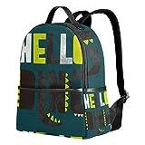 Green Hello Dinosaurio Mochila para mujeres adolescentes y niñas, bolso de moda, bolsa de libros para niños, viajes, universidad, casual, para niños preescolares, regreso a casa, suministros mini