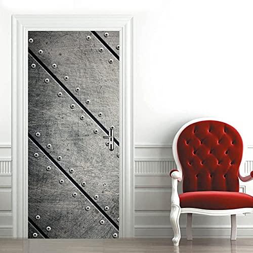 DFKJ Pegatina en la Puerta Papel Tapiz Autoadhesivo para Puertas Imprimir Imagen artística Espiral Decoración para el hogar Mural Armario Renovación Calcomanía A26 77x200cm