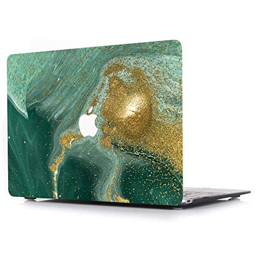 ACJYX Compatible with MacBook Pro 15 inch Case 2019 2018 2017 2016 Release A1990 A1707 with Touch Bar, Print Pattern Coated Plastic Protective Cover Laptop Hard Shell Case, Green & Gold