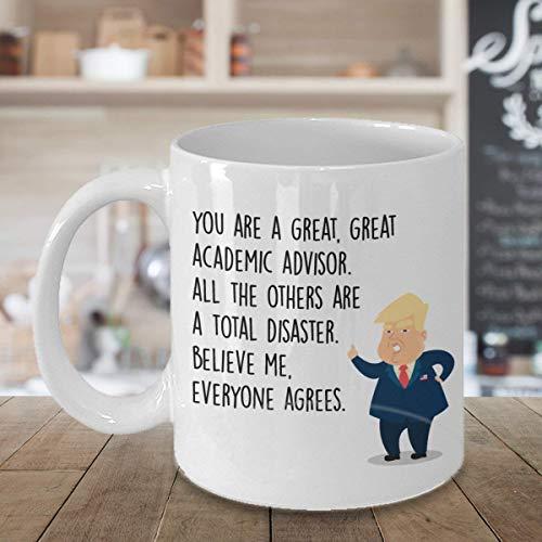 N\A Taza de Asesor académico Taza de café Regalos para Estudiantes Trump Asesor Asesor Guía Consejero Taza Divertida de café Taza de Asesor académico de Navidad