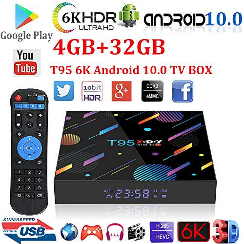 Android 10.0 TV Box,Xgody T95 4GB RAM 32GB ROM Smart TV Box Allwinner H616 Quad-core 64bit,Support Dual WiFi 2.4GHz/5GHz/ 6K UHD/ 3D/ H.265 Streaming Media Players