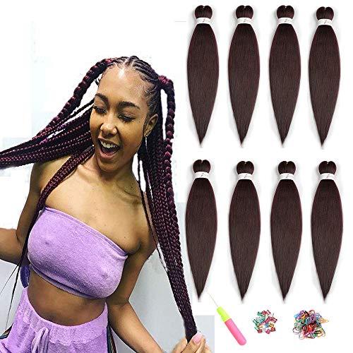 ShowJarlly Braid Pre Stretched Flechten Haar Yaki Braid Professional Hair Kunsthaar 8 Stück (66CM, 99J#)