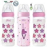 Chicco Flaschen Set Girl // Babyflschchen Well-Being 330 ml //'Mama-Effekt' Silikon Sauger 4m+ // 3 Silikon Sauger // Made in Italy