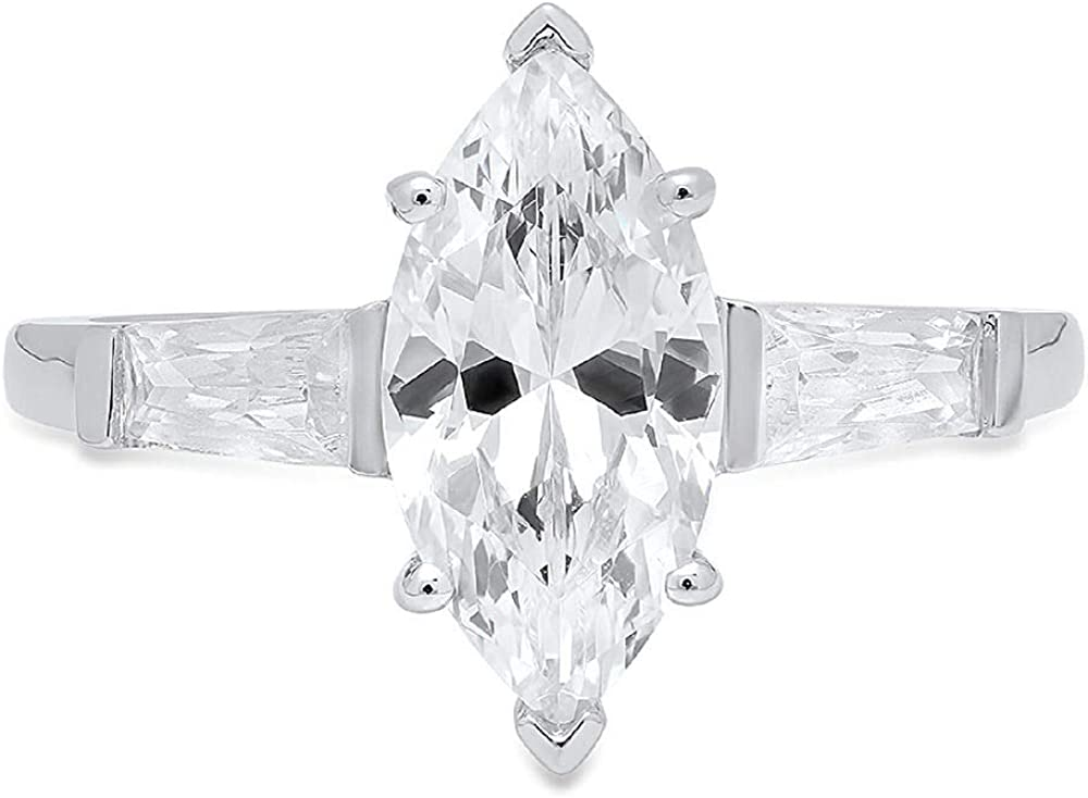 Clara Pucci Marquise & Baguette Cut Solitaire 3-Stone Engagement Wedding Anniversary Promise Ring 14K White Gold, 1.85CT