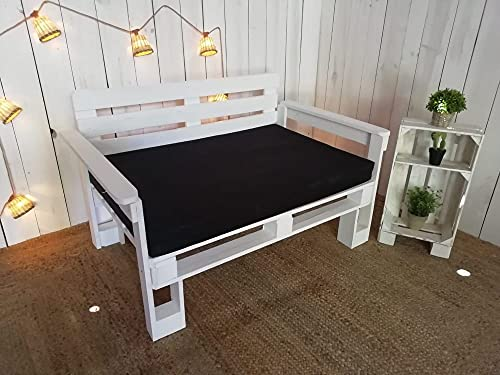 Sofa de palets para Jardin, Patio, Balcon, Terraza - Muebles con palets de Madera - Sillones con palets, Asientos de pallets, Sillas de palets Semi Europeos (60x80x40cm, Blanco)