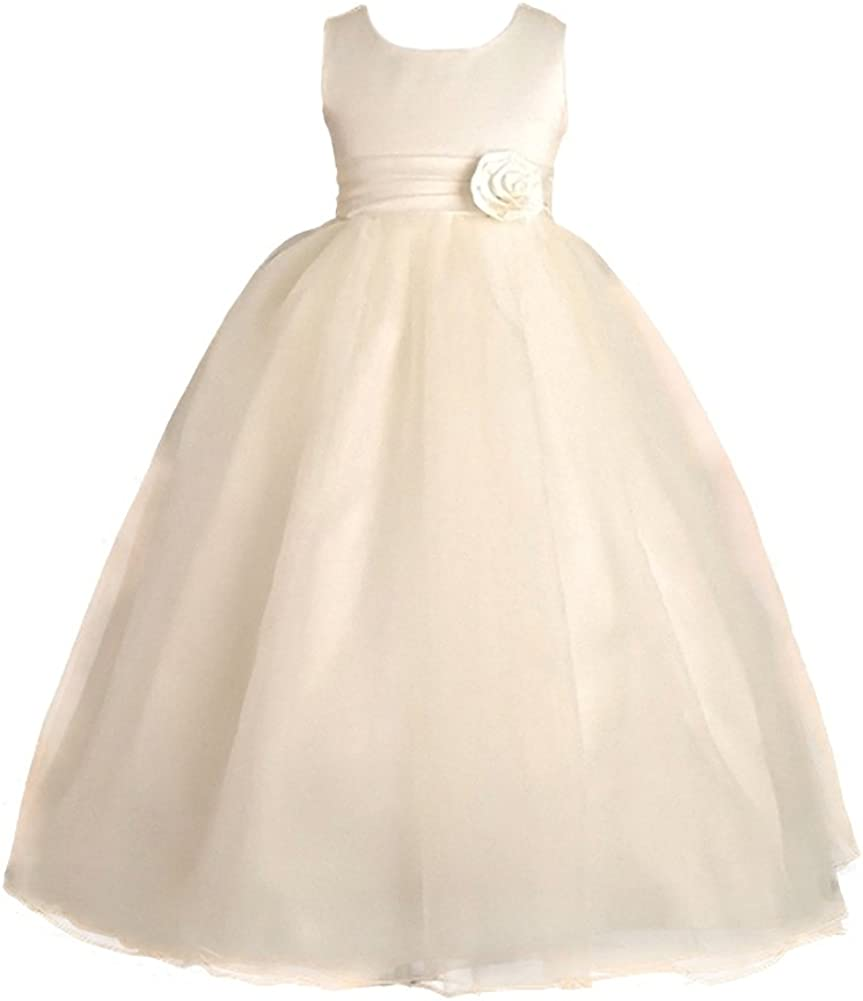 Dressy Daisy Girls' Empire Waist Wedding Flower Girl Dresses Pageant Party Ball Gown Special Occasion Outfit Formal Wear