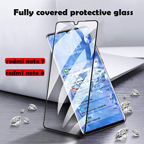 JVSJ 2PCS voor redmi Note 7 8 gehard veiligheidsglas film voor xiaomi redmi Note 7 8 per glas telefoon 3D screen protector glas, Zwart, Voor cijfer 8 pro