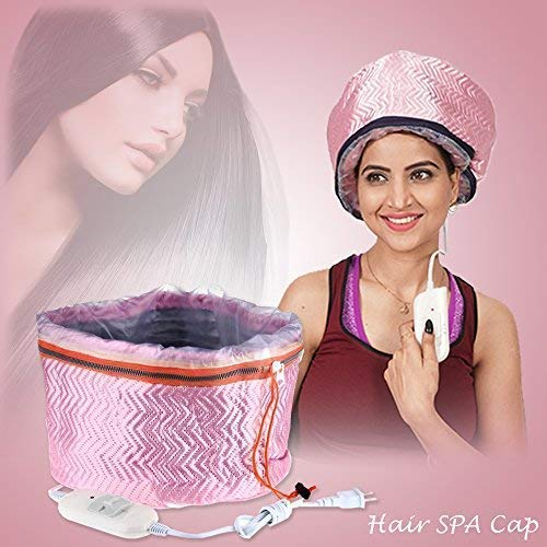 Qualitech Hair Care Thermal Head Cap Steamer For Spa At Home Treatment with Beauty Nourishing Heating (Pink)