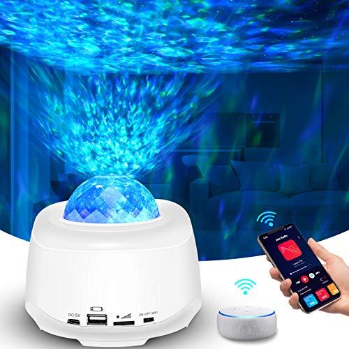 Sternenhimmel Projektor,LED Projektor,Sternenhimmel Lampe Nachtlicht Mit Musik und Bluetooth,Kompatibel mit Alexa/Google Assistant,Wasserwelle Projektor,Weihnachten Ostern Zuhause Dekoration Lampe